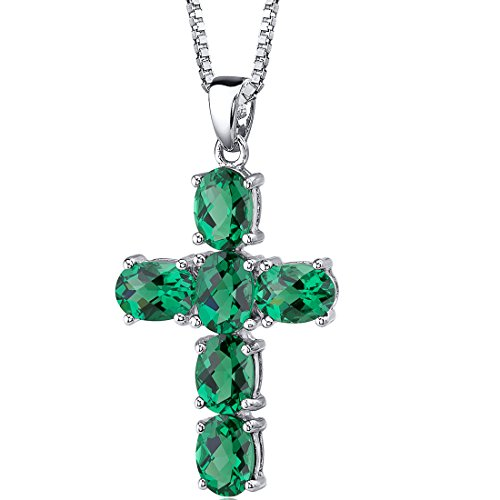 Peora 4.50 Carats Simulated Emerald Cross Pendant Necklace Sterling Silver