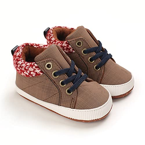 KGDC PU Zapatos for Caminar Infantil recién Nacido Baby Be Boys Patchwork Soft Sole Sneaker for la caída de la Primavera, 4 Colores, (Color : Brown, Shoe Size : 12cm)