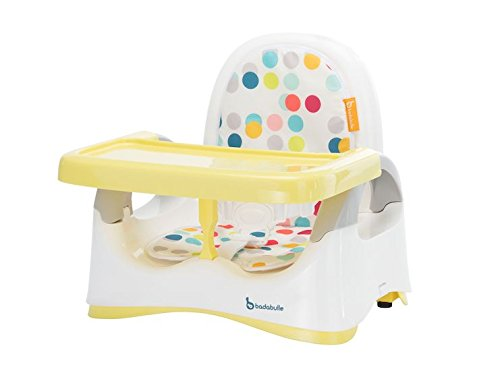 Badabulle Komfort Sitzerhöhung, Sitzerhöhung für Stuhl, Boostersitz für unterwegs, kompakt zusammenklappbar 20cm, weiß/gelb