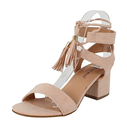 TOP Moda Women's Tassel Stacked Block Heel Gladiator Sandal (10 B(M) US, Blush)