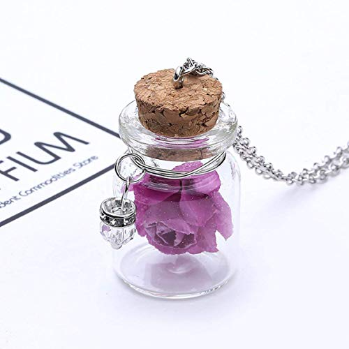 Jewelry Glow In The Dark Flower Pendant Necklace Fluorescent Glass Wish Bottle Luminous Chain Necklace Charming Gift Jewelry