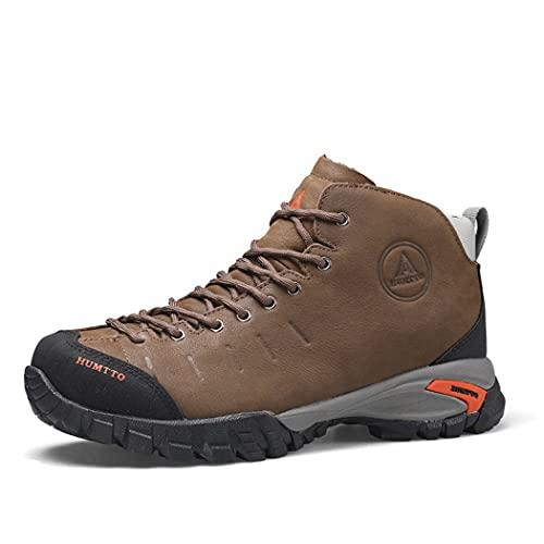 huasa Botas de Senderismo Hombre,Botas de Montaña Antideslizantes Al Aire Libre Zapatos de Deporte cálidas y con Parte Superior de Piel,Senderismo Ligeras Antideslizantes,42-Brown