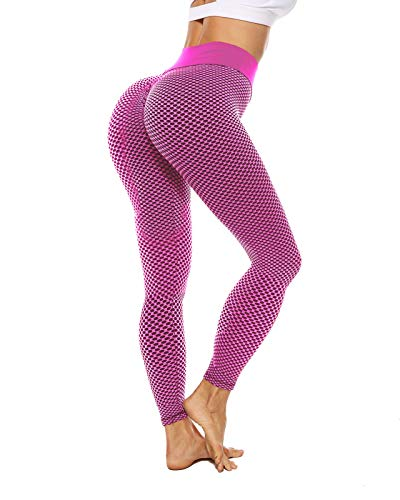ZITAIMEI High Waist Yoga Pants Booty Workout Leggings for Women Butt Lifting Anti Cellulite Tummy Control Tight Pink