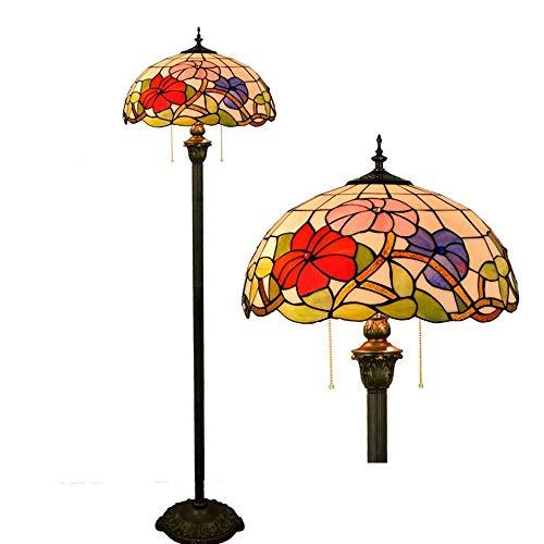 16-pulgadas estilo Tiffany Europea de alto grado de la gloria de mañana de cristal Lámpara de pie Lámpara de lectura vertical pura for el Estudio de la sala dormitorio decoración del sitio antiguo de