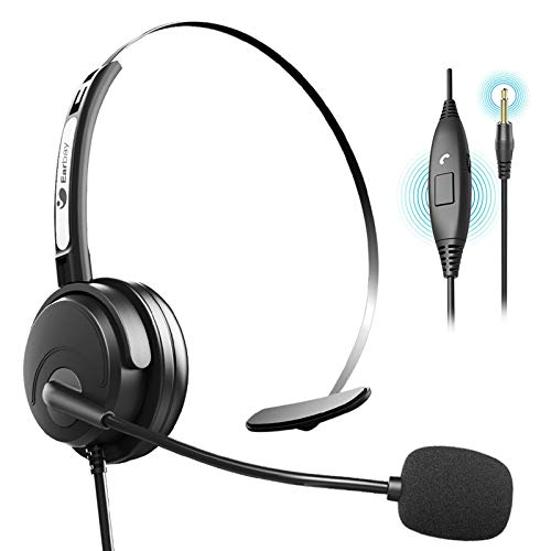 3.5mm Cell Phone Headset with Noise Cancelling Microphone Wired Computer Headphone For Smartphone Tablet, Single-Sided Call Center Headsets For Office, Work From Home, Telemarketing, Online Conference