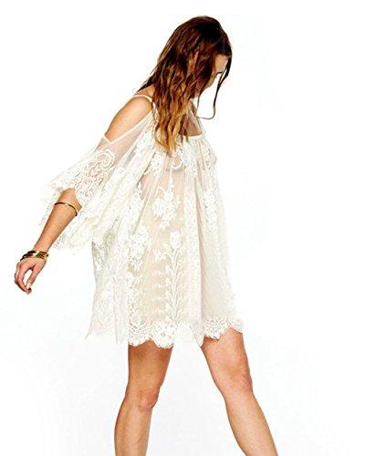 Elecenty Damen Partykleid Spitzekleid Hippie Boho Sommerkleid Häkeln Kleider Frauen Mode Gestickt Kurzarm Knielang Kleid Minikleid Rundhals Strandkleid Kleidung (L, Weiß)