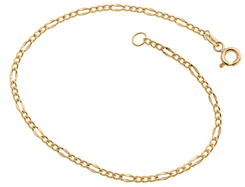 Fa. Thomas Maier Figarokette Armband, Goldarmband - 2,4mm Breite - 585 Gelbgold, Länge wählbar von 16-23cm