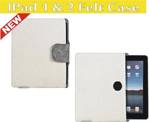Apple iPad 1 & 2 Felt Flip Messenger Hoes Beschermer, 26 x 21.5 cm, cr�me
