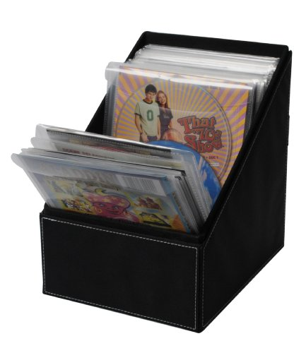 Atlantic Media Sleeve Storage Bin - Leatherette Front, Quality Stitching and includes 36 Sleeves for CDs, DVDs and Video Games