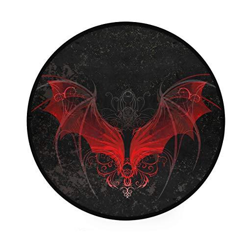 Mr.Lucien Alfombra redonda con alas rojas misteriosas de vampiro, alfombra redonda suave en la parte delantera de la ducha, bañera, lavabo, inodoro, 91,9 cm 2020087