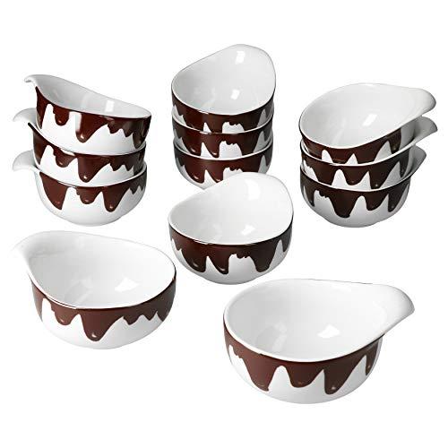 MamboCat Blob - Set di 12 ciotole per fonduta di cioccolato fuso, diametro 9,5 cm, 150 ml, decorazione per cioccolato fuso, ciotole in ceramica, per fonduta