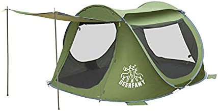 DEERFAMY Easy Pop Up Tent, 3 Person Pop Up Tent Camping, Tent Instant Pop Up with Vestibule Army Green Pop Up Camping Tent for Family
