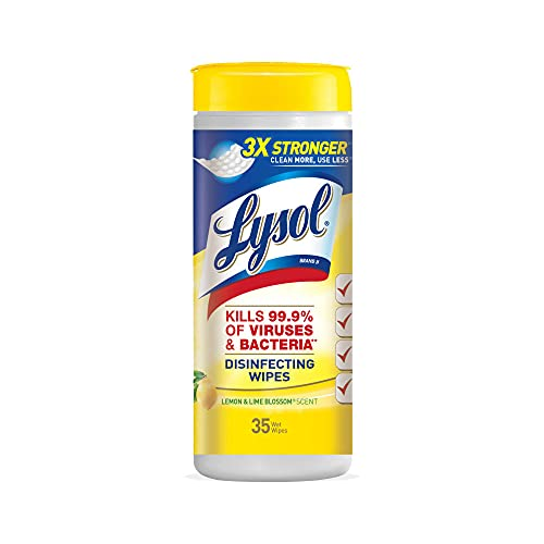 Lysol Disinfecting Wipes, Lemon and Lime Blossom Scent, Kills Viruses and Bacteria, 4 Tubs, 35 Count Each (Total 140 Wipes)