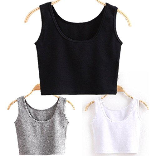 HZH Women's Girl Short Tank Top Yoga Dance Crop Top for Juniors 3 Pieces(S,Black White Grey)