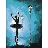 Lovmo Bailarina de Ballet DIY 5D Diamante Pintura, Punto de Cruz Completo Diamante, Adecuado para decoración del hogar Pintura Hecha a Mano para niños y Adultos (Cuadrado 30 *(Cuadrado 30 * 40 cm)