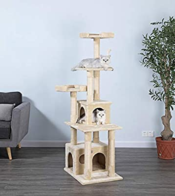 Go Pet Club Cat Condo, 67-Inch, Beige