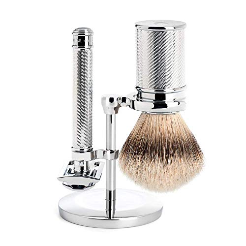 MÜHLE Chrome Silvertip Badger Safety Razor (Closed Comb) Shaving Set - Perfect for Every Day Use, Barbershop Quality Close Smooth Shave