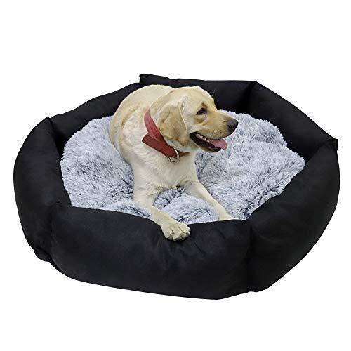 Bingopaw Cama para Perros Grandes Impermeable y Lavable, Colchoneta Perro Desmontable, con Cojín Felpa Reversible, Sofá Cama Perro Suave y Cómoda, 120 x 21 cm Negro