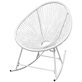 Festnight Chaise à Bascule de Jardin Chaise Forme Ovale en Rotin Synthétique Blanc