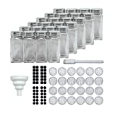 Mockins 24 Piece 4 Oz Glass Spice Jars | The Airtight Spice Container Set Comes with Stainless Steel Covers - Shaker Lids - Collapsible Funnel - Round & Square Labels - And a Chalk Marker