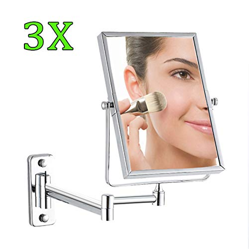 8 Pouces Double Face LED Miroirs de Maquillage, Miroir Grossissant Mural, 360°Pivotant, Surface chromée, Extensible, Alimenté par Piles AAA(Non Inclus)