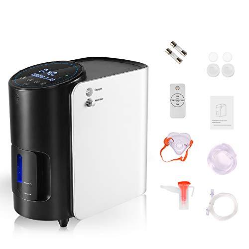 Vogvigo Concentrador de oxígeno Portatil 1-7 L/min Generador de oxígeno ajustable 93%±3% de alta pureza con función de atomización Flujo AC 220V para...