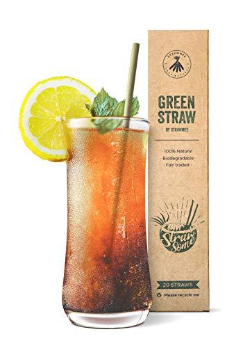 Strawmee Green Straws, natürlich gewachsene Gras-Strohhalme, stabil, nachhaltig, bio-logisch abbaubar, wiederverwendbar, die plastikfreie Alternative