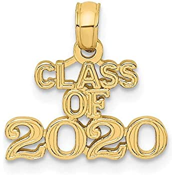 14K Yellow Gold Polished Graduation 2019 Small Charm Pendant