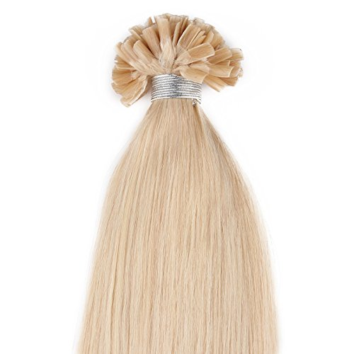 Beauty7 - Räumungsausverkauf - 50 STK Echthaarstraehnen Remy Echthaar Haarverlaengerung von U-tips 45cm 0,5g Bonding Echthaar Extensions Straehnen 50cm/20 inches in Farbe #24 Blond