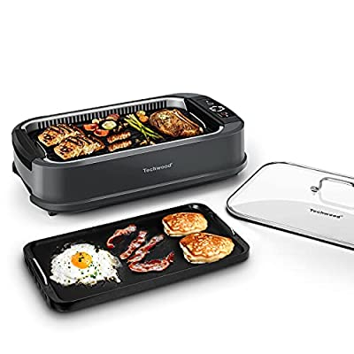 Techwood Indoor Grill Smokeless Grill, 1500W Indoor Korean BBQ Electric Tabletop Grill with Tempered Glass Lid, Removable Grill and Griddle Plates with Drip Tray, Gray