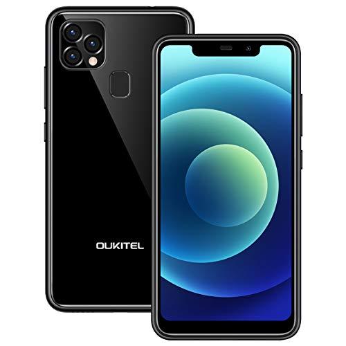 OUKITEL C22 Telefonos Moviles Libres Baratos, Android 10 Dual Sim 4GB+128GB (SD 256GB),5.9' HD,13MP Rear+8MP Frontal Camera, 4000 mAh Batería 10W Carga Rapida Face ID/GPS Smartphone Oferta Negro