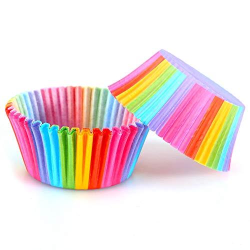 Papierförmchen, Farbe, 100 Stück, Futter von kleinen Kuchen, Muffin, Kuchenform, Regenbogenfarben