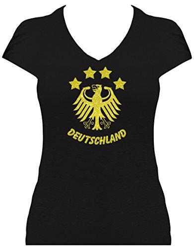 Elegantes Damen WM Shirt Deutschland Fussball 4 Sterne und Bundesadler Deutschland Schriftzug Germany 2018, T-Shirt, Grösse XL, schwarz