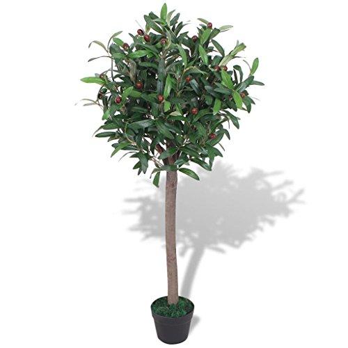 UnfadeMemory Árbol de Laurel,Planta Artificial Decorativa,Decoración de Hogar Oficina,con Macetero,Altura 120cm,30 Frutos, Verde y Rojo