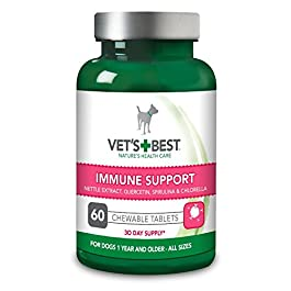 Vet's Best Immune Support Dog Supplement Promotes Healthy Immune System & Seasonal Allergy Relief (60 Tablets)