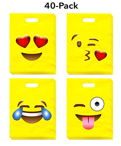 Emoji Party Favor Bags 40-Pack (9x12), Great for Kids Birthday Parties, Celebrations, Fun Classroom Rewards & Treats, Carnivals, Games & Candy Goodie Grab Bag, Deluxe Emoticon Gift Supplies