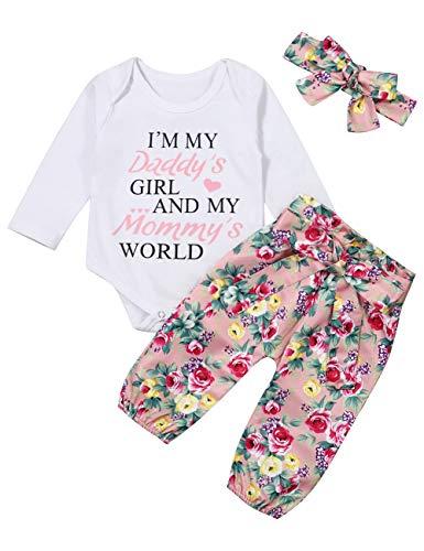 Bebés Bebés Ropa de niñas 3 Piezas Conjuntos Pantalones Cortos de Mameluco Diadema para papá y mamá (Blanco-B, 12-18 Meses)