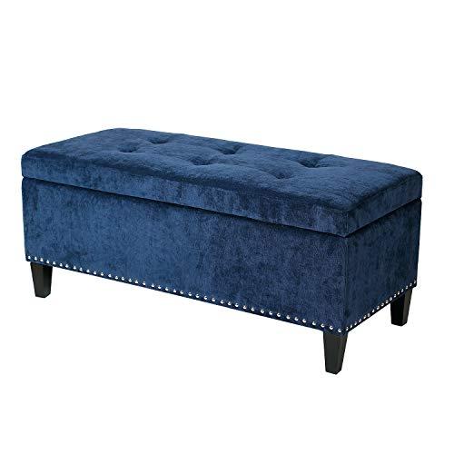 Joveco Storage Ottoman Bench Microfiber Rectangular Button Tufted Footstool Toy Chests & Storage Room Organizer (Dark Blue)