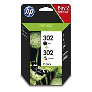HP 302 X4D37AE Confezione da 2 cartucce d'inchiostro Originali, Compatibili con DeskJet 1110, 2130, 3630, OfficeJet 3830 e 4650, Envy 4520, Nero e Tricromia