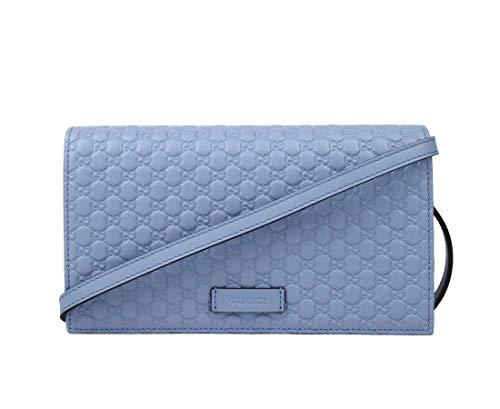 Gucci Men's Light Blue Leather Crossbody Wallet Bag 466507 4503