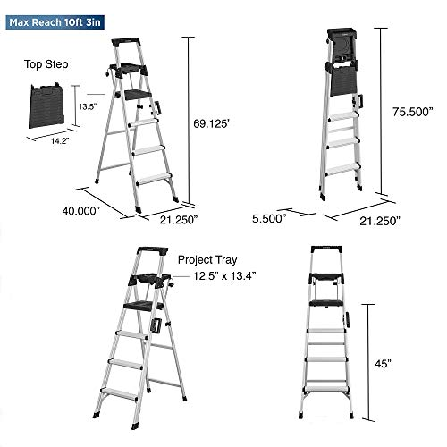 COSCO 2061AABLKE Signature Series Step Ladder, 6ft, Steel
