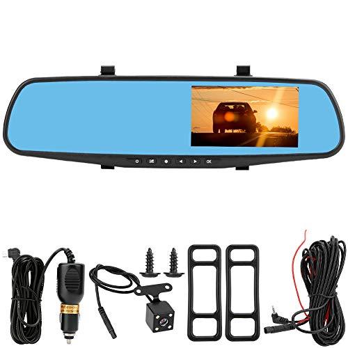 Heaveant Grabadora DVR para Coche, 4,3 Pulgadas HD Grabador de vídeo para conducción Cámara DVR para Coche con Espejo retrovisor de Doble Lente