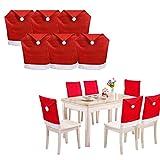 CHENGZI Fundas para sillas de comedor con gorro de Papá Noel, para Navidad, decoración de mesa, juego de 6