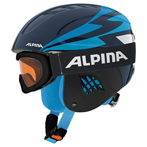 Alpina Sports Unisex Jugend Carat Set Skihelm, Nightblue, 54-58