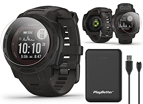 Garmin Instinct Solar (Graphite) GPS Outdoor Smartwatch Power Bundle | with PlayBetter Power Bank Charger (Large) & HD Screen Protectors | Hiking Military Watch | Heart Rate, Waterproof | 010-02293-10