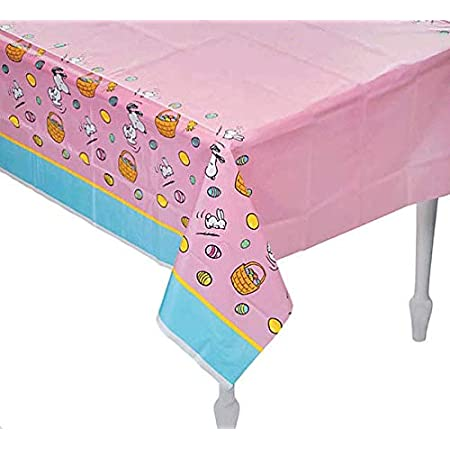 Peanuts Snoopy Woodstock Rabbits Easter Eggs Baskets Pink And Blue Easter Tablecloth Table Cover Home Kitchen