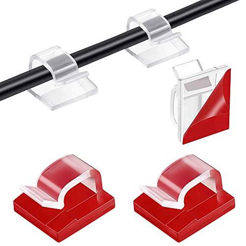Organizador Clip de Cable, 130 Piezas Clips Cables Adhesivo, Cable Clip Plástico...
