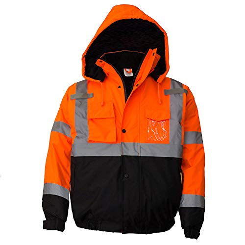 Troy Safety Workwear WJ9011 Men's ANSI Class 3 High Visibility Bomber Safety Jacket, Waterproof (Large, Orange)