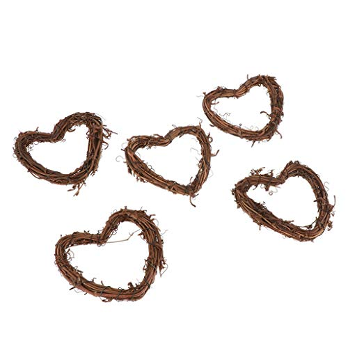 Amuzocity 3/5/10Pcs Grapevine Wreath Natural Rattan Coloring Wreaths Handmade DIY Crafts Wall Decor Approximately 4-5inch - Love heart, 5Pcs