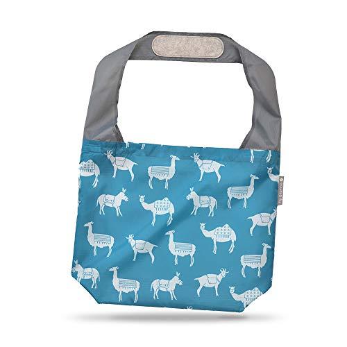 24-7 Premium Reusable Bag With Assorted Prints, Foldable Beach Bag, Grocery Bag, Travel Bag, Shopping Bag - Flip and Tumble (Pack Animals)